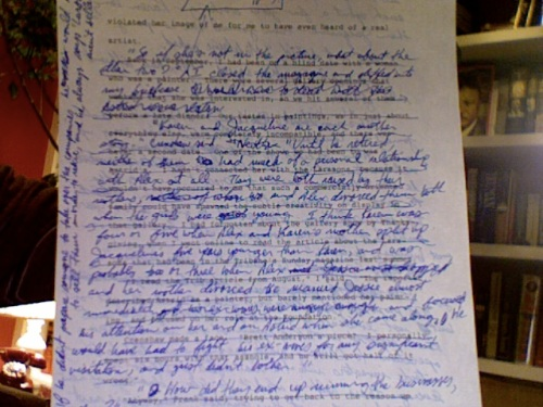 The front of page 72 - I kept the first two lines, then crossed out everything else on the page and wrote over it.